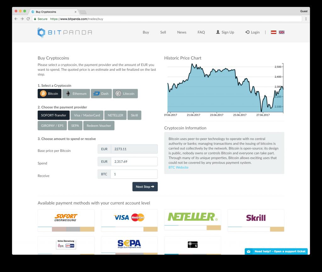BitPanda buy bitcoins with bank transfer