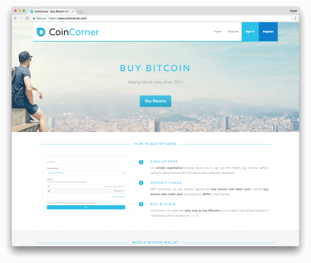 CoinCorner buy bitcoins with bank transfer