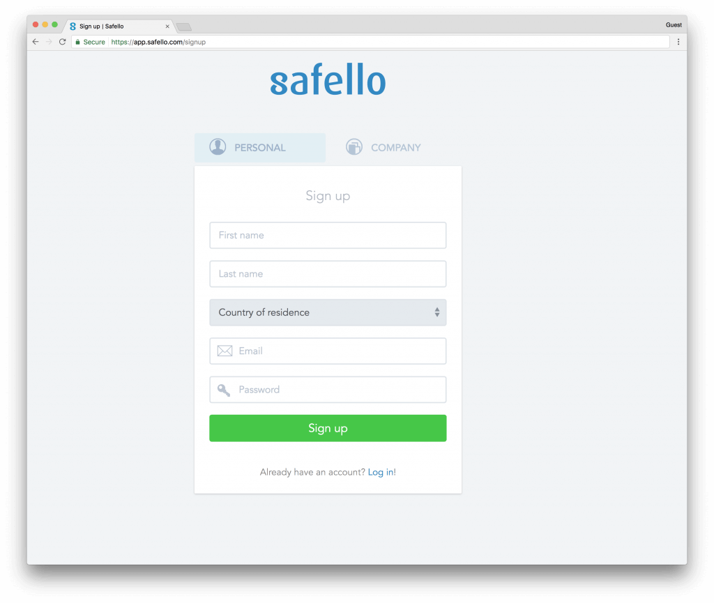 Registration at Safello for the purchase of bitcoins