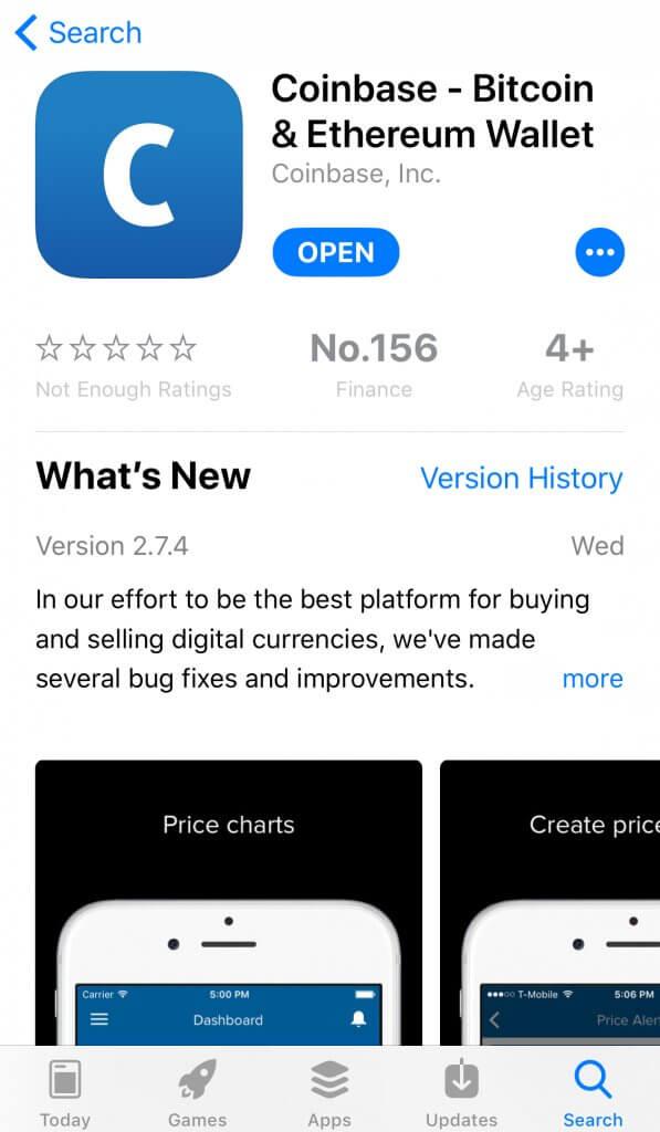 Bitcoin app for iOS Coinbase